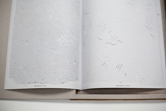 Laser printed book: Scanned record of paper specimens: #1-12 stapled b&w 27×19.5cm